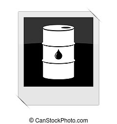 Oil barrel icon within a photo on white background