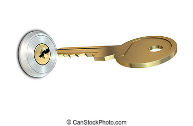 Key Approaching Empty Slot - A dead bolt lock shield with a...
