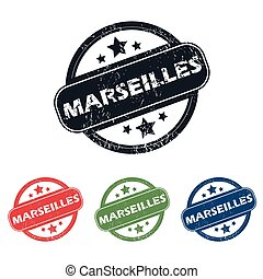 Round Marseilles city stamp set - Set of four stamps with...