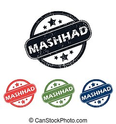 Round Mashhad city stamp set - Set of four stamps with name...