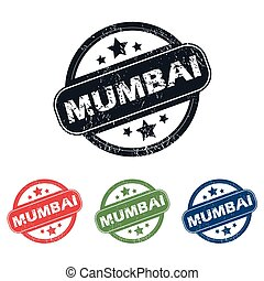 Round Mumbai city stamp set - Set of four stamps with name...