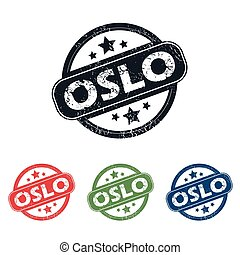 Round Oslo city stamp set - Set of four stamps with name...