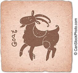 Goat. Chinese Zodiac Sign Horoscope Vintage Card.
