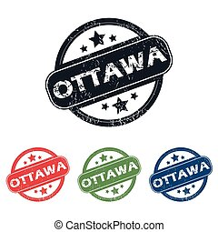 Round Ottawa city stamp set - Set of four stamps with name...