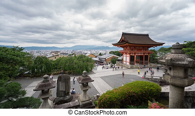 Time Lapse of Kiyomizu Dera and tourists in Kyoto, Japan -...