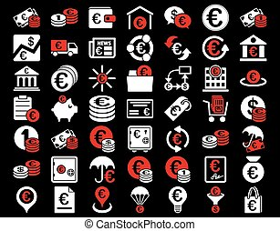 Euro Banking Icons. These flat bicolor icons use red and...