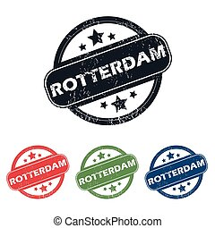 Round Rotterdam city stamp set - Set of four stamps with...