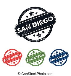 Round San Diego stamp set - Set of four stamps with name San...