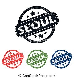 Round Seoul city stamp set - Set of four stamps with name...