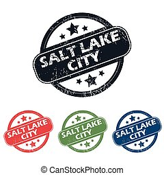 Salt Lake City stamp set - Set of four stamps with name Salt...