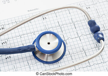 Stethoscope with ekg cardiograms chart - studio shot