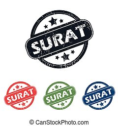 Round Surat city stamp set - Set of four stamps with name...