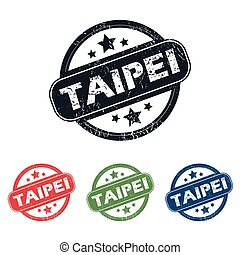 Round Taipei city stamp set - Set of four stamps with name...