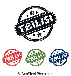 Round Tbilisi city stamp set - Set of four stamps with name...