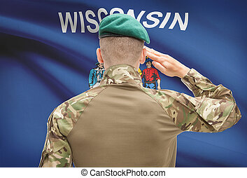 Soldier saluting to USA state flag conceptual series -...