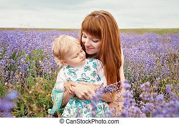 bello, natura, madre, giovane, bambino, ritratto