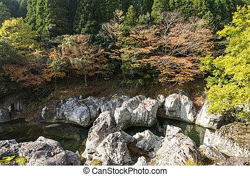 River flowing between a rock