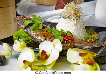 Australian Barramundi, served with fragrant Jasmine rice and...