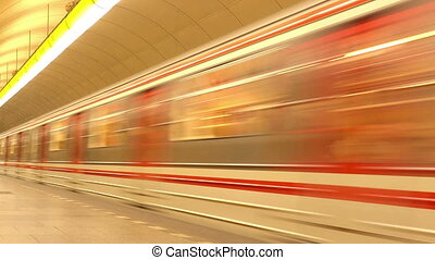 Subway Train in Metro Station - Subway Train with Passengers...