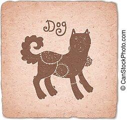 Dog. Chinese Zodiac Sign Horoscope Vintage Card.