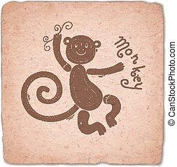 Monkey. Chinese Zodiac Sign Horoscope Vintage Card.