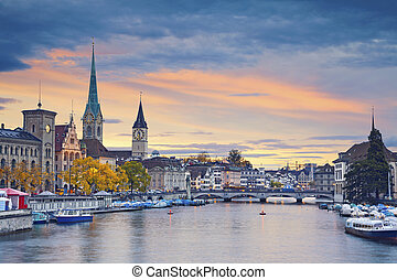 Zurich. - Image of Zurich, Switzerland during autumn sunset.