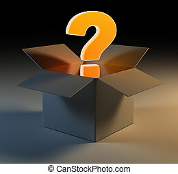 Question mark in box , 3d rendered image.