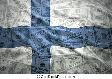 colorful waving finnish flag on a american dollar money background