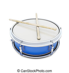 Blue drum with shock sticks isolated on white background. 3d...