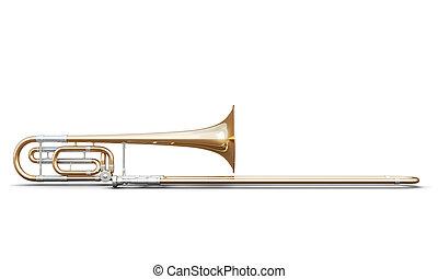 trombón, blanco, aislado, Plano de fondo