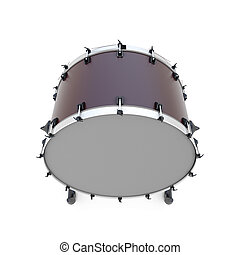 Bass drum percussion instrument isolated on white...