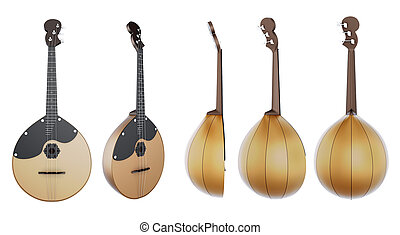 Stringed musical instrument Domra with different species on...