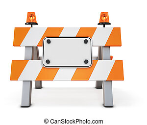 Road closed barricade isolated on white background 3d...