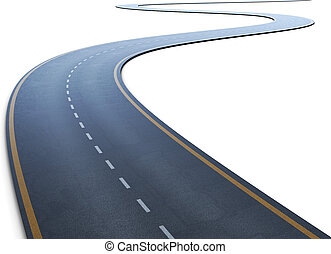 The road with a marking going to a distance on a white 3d...