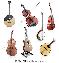 Set of string musical instruments isolated on white...