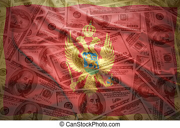 colorful waving montenegrin flag on a american dollar money background