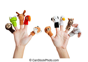 Hand with animal puppets - Female hand wearing 10 finger...