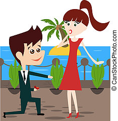 Engagement - Vector cartoon businessman engaging his pretty...