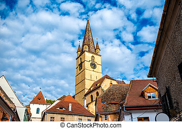 Lutheran cathedral in Sibiu city - Beautiful view on...