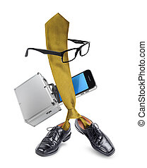 Funny businessman tie character cartoon - Funny busy...