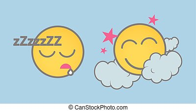 Sleeping Cartoon Smiley Set Vector Illustration