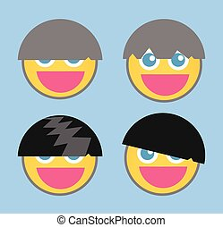 Cool Hairstyle - Cartoon Smiley Set
