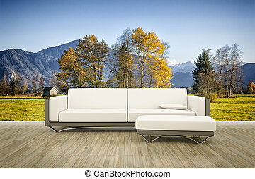 photo wall mural sofa floor - 3D rendering of a sofa in...