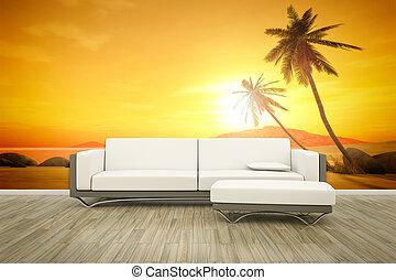 fotografia, ściana, ścienny, Sofa, podłoga,