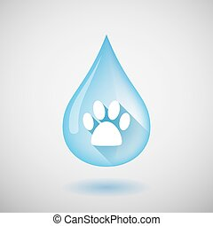 Long shadow water drop icon with an animal footprint