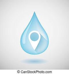 Long shadow water drop icon with a map mark - Illustration...