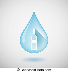 Long shadow water drop icon with a bottle of wine