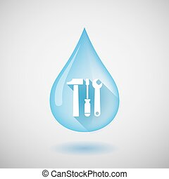 Long shadow water drop icon with a tool set