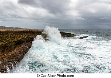 Splashing waves at a rough and rocky coastline