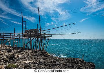 Trabucco, traditional fishing technique of Gargano, symbol...